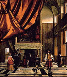 The Interior of the Burgomaster's Council Chamber in the Amsterdam Town Hall with Visitors, by Pieter de Hooch
